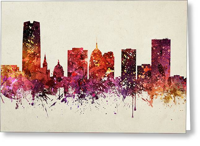 Oklahoma Digital Greeting Cards - Oklahoma City Cityscape 09 Greeting Card by Aged Pixel