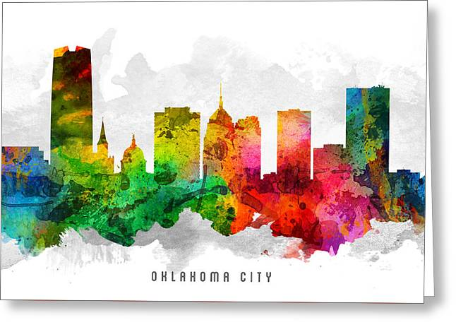 Oklahoma Digital Greeting Cards - Oklahoma Cityscape 12 Greeting Card by Aged Pixel
