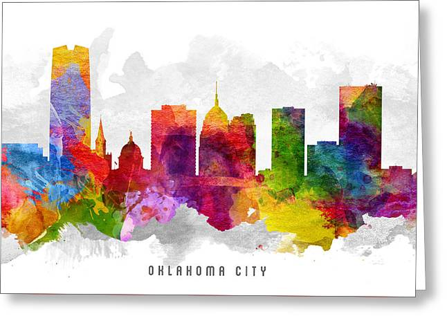 Oklahoma Digital Greeting Cards - Oklahoma Cityscape 13 Greeting Card by Aged Pixel