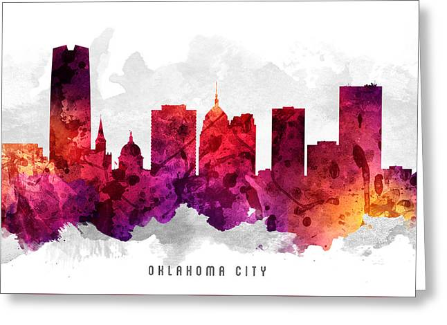 Oklahoma Digital Greeting Cards - Oklahoma Cityscape 14 Greeting Card by Aged Pixel
