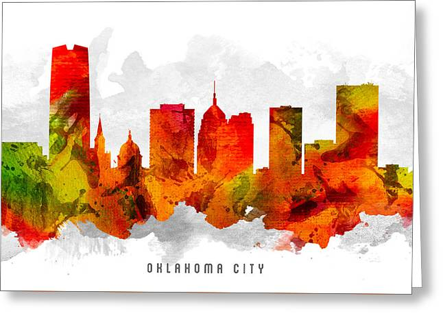 Oklahoma Digital Greeting Cards - Oklahoma Cityscape 15 Greeting Card by Aged Pixel