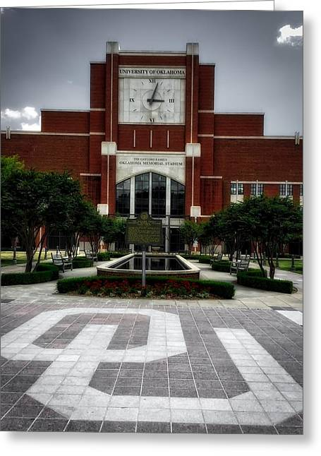 Oklahoma Memorial Stadium Greeting Card by Center For Teaching Excellence