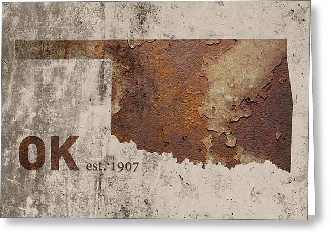Dated Greeting Cards - Oklahoma State Map Industrial Rusted Metal on Cement Wall with Founding Date Series 003 Greeting Card by Design Turnpike