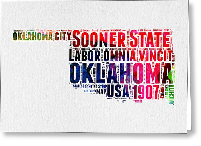 4th July Greeting Cards - Oklahoma Watercolor Word Cloud  Greeting Card by Naxart Studio