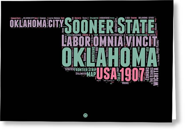 4th July Greeting Cards - Oklahoma Word Cloud 1 Greeting Card by Naxart Studio