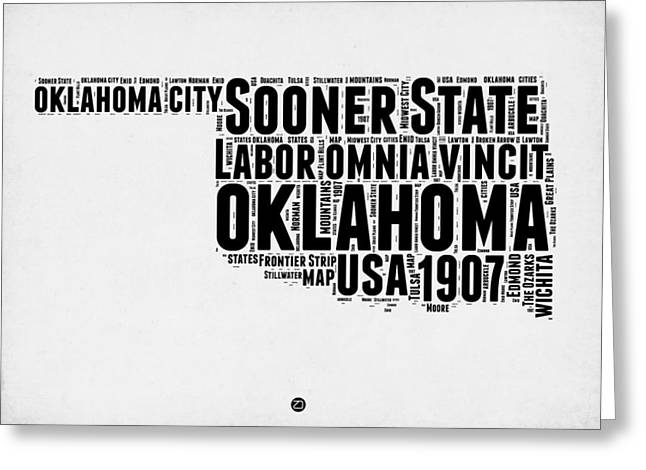 4th July Greeting Cards - Oklahoma Word Cloud 2 Greeting Card by Naxart Studio
