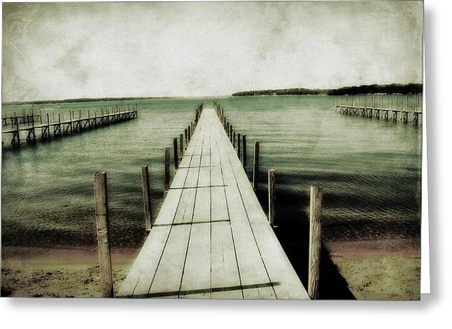 Okoboji Docks Greeting Card by Julie Hamilton