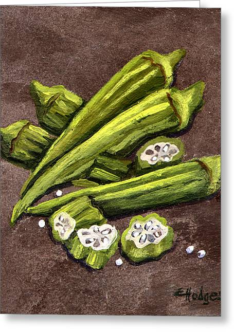 Gumbo Greeting Cards - Okra Greeting Card by Elaine Hodges
