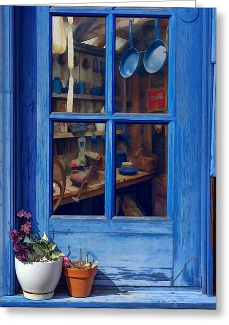 Still-life With A Basket Greeting Cards - Ol Country Store Window Greeting Card by Chrystyne Novack