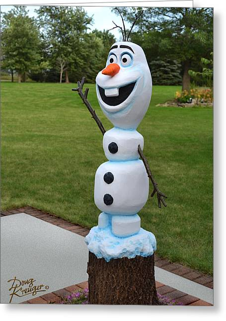 Happy Sculptures Greeting Cards - Olaf Wood Carving Greeting Card by Doug Kreuger