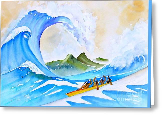Canoe Greeting Cards - Olamana ala Hokusai Greeting Card by Sue Roach