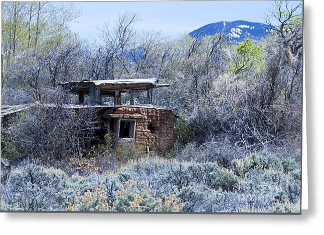 Mountain Road Greeting Cards - Old Abandoned Adobe Des Montes New Mexico Greeting Card by CheyAnne Sexton