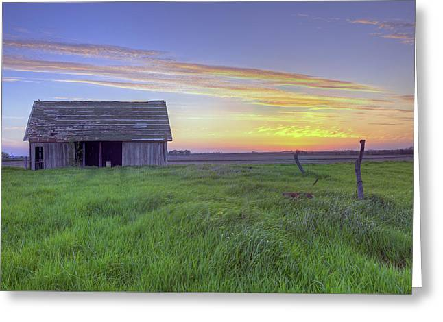 Old Barns Greeting Cards - Old Abandoned Farm Barn At Sunset #2 Greeting Card by Jim Vallee