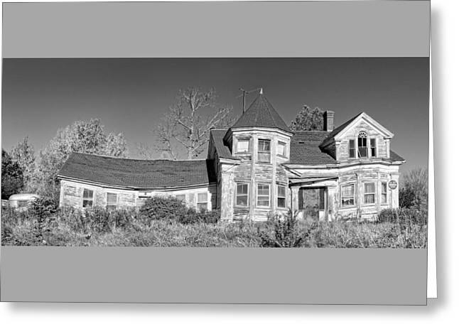 Old Maine Houses Greeting Cards - Old Abandoned House Black and White Photo Greeting Card by Keith Webber Jr