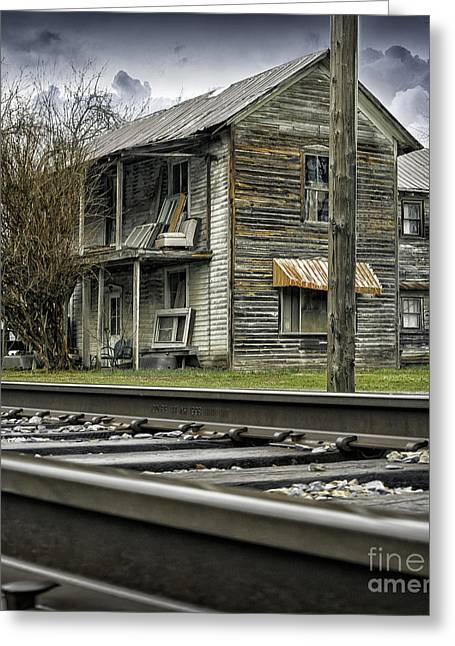 Old Abandoned House Greeting Cards - Old Abandoned House by the Railroad Track 2 Greeting Card by Walt Foegelle