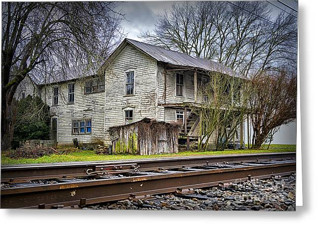 Old Abandoned House Greeting Cards - Old Abandoned House by the Railroad Track  Greeting Card by Walt Foegelle