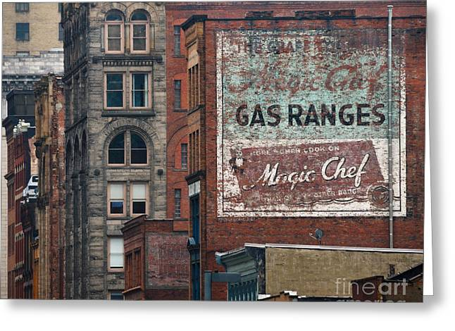 Old Advertisement On A Building In Pittsburgh Pennsylvania Greeting Card by Amy Cicconi