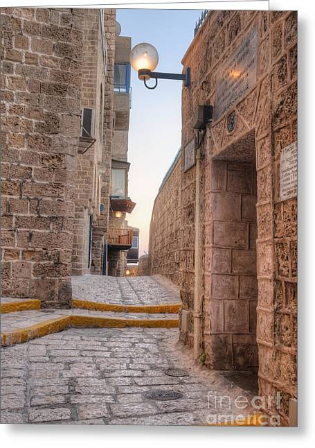 Recently Sold -  - Stepping Stones Greeting Cards - Old Alley In Mid-Eastern City Greeting Card by Noam Armonn