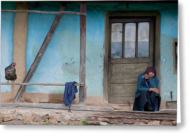 Rural House Greeting Cards - Old And Blue Greeting Card by Codruta Georgescu