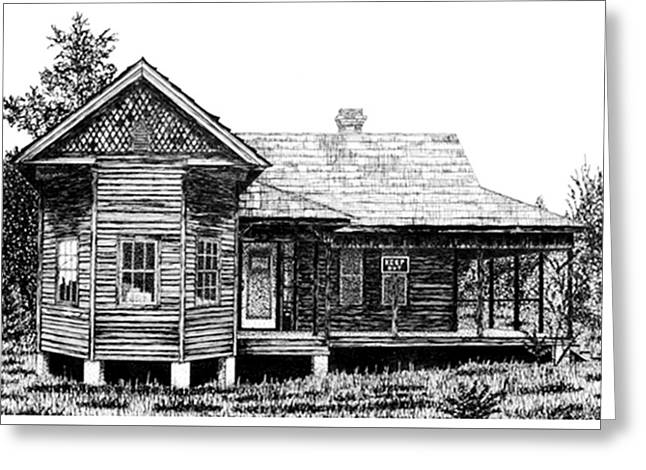 Abandoned House Drawings Greeting Cards - Old and Forlorn Greeting Card by Jean Ehler
