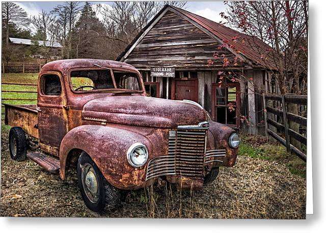 Tennessee Barn Greeting Cards - Old and Rusty Greeting Card by Debra and Dave Vanderlaan