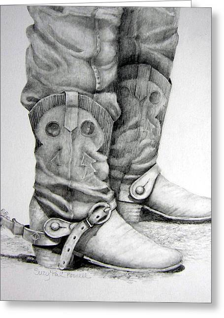 Western Pencil Drawings Greeting Cards - Old and Wrinkled Greeting Card by Suzy Pal Powell