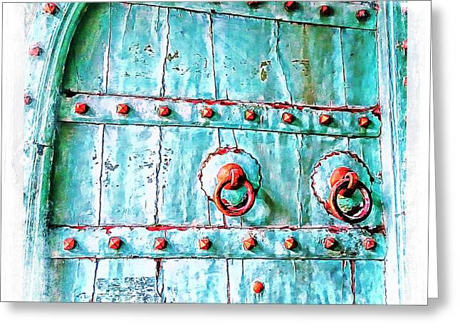 Old Antique Door Shopping Bazaar India Rajasthan Jaipur 2a Greeting Card by Sue Jacobi