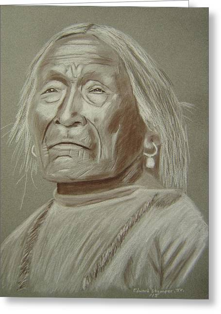 Old Apache Scout Greeting Card by Edward Stamper