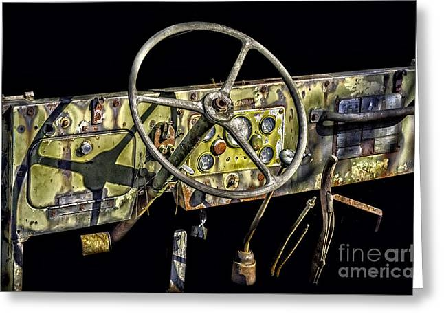 Old Army Jeep Dashboard Greeting Card by Walt Foegelle