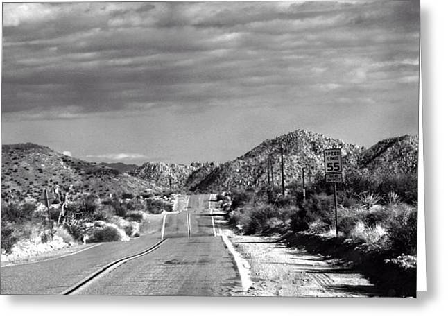 Pioneertown Greeting Cards - Old Back Road Greeting Card by Carolina Liechtenstein