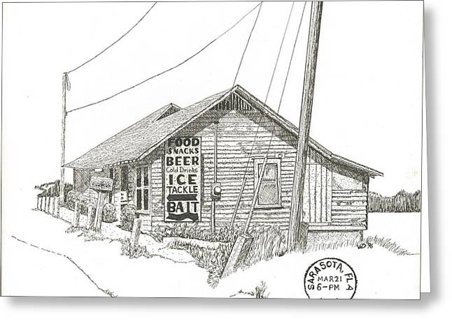 Pen And Ink Drawing Greeting Cards - Original New Pass Grill and Bait Shop Greeting Card by Warren Day