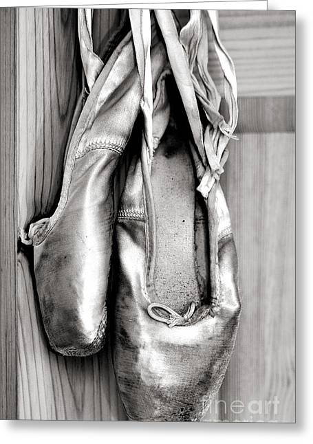 Black Tie Photographs Greeting Cards - Old ballet shoes Greeting Card by Jane Rix