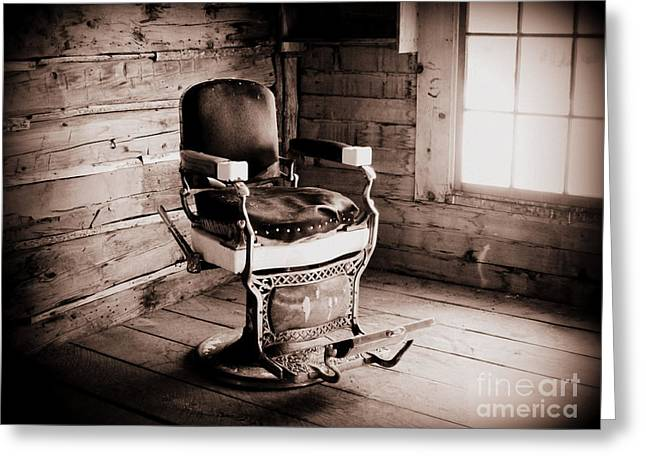 Saloons Greeting Cards - Old Barber Chair Greeting Card by Krista Carofano