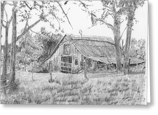 Old Barn Drawing Greeting Cards - Old Barn 2 Greeting Card by Barry Jones