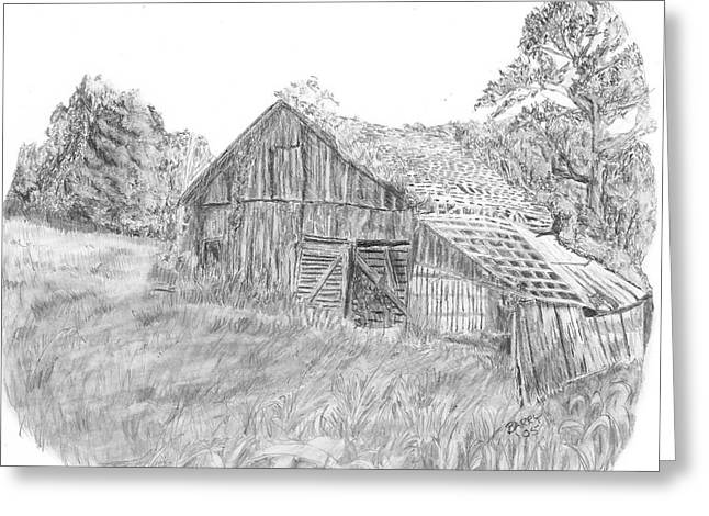 Old Barn Drawing Greeting Cards - Old Barn 3 Greeting Card by Barry Jones