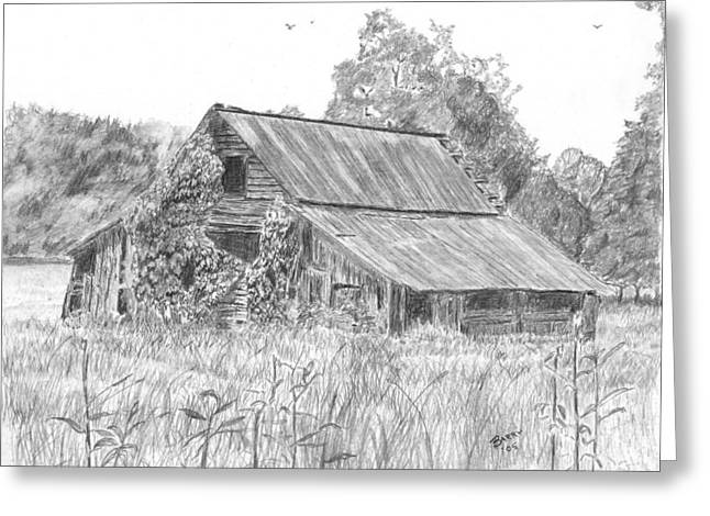 Old Barn Drawing Greeting Cards - Old Barn 4 Greeting Card by Barry Jones