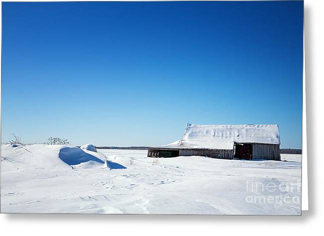 Abandoned Building Greeting Cards - Old barn and snow drifts Canada Greeting Card by Jane Rix