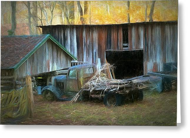 Old Barn And Truck At Elys Mill Gatlinburg Tn Greeting Card by Rebecca Korpita