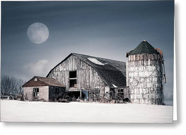 Barn And Silo Greeting Cards - Old Barn and winter moon - Snowy Rustic Landscape Greeting Card by Gary Heller