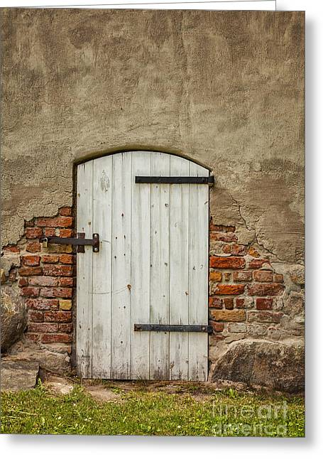 Wooden Building Greeting Cards - Old barn door Greeting Card by Sophie McAulay