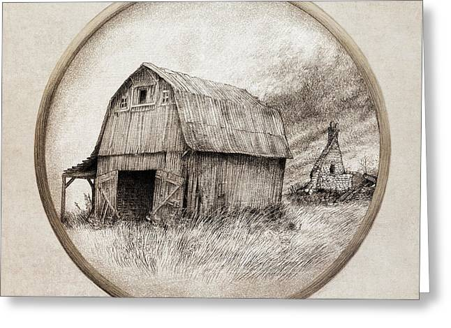 Old Barns Drawings Greeting Cards - Old Barn Greeting Card by Eric Fan