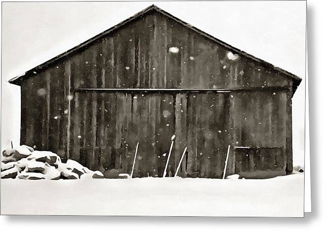 Old Barn In Winter Greeting Card by Dan Sproul
