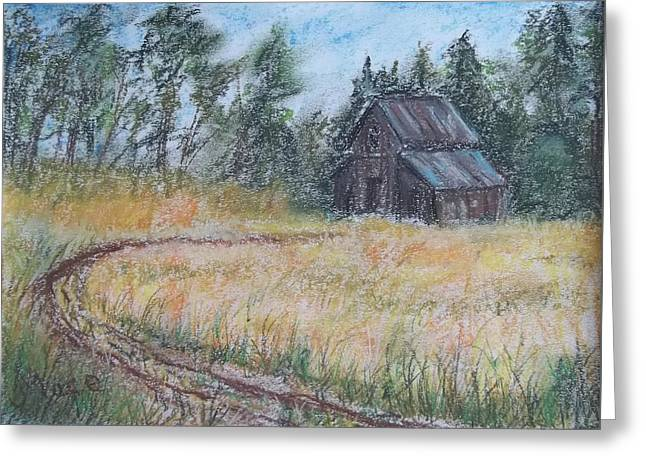 Old Barn Pastels Greeting Cards - Old Barn Greeting Card by Joan Mace