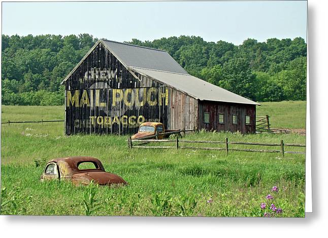 Mother Nature Greeting Cards - Old Barn Mail Pouch Tobacco Advertising Greeting Card by Mother Nature
