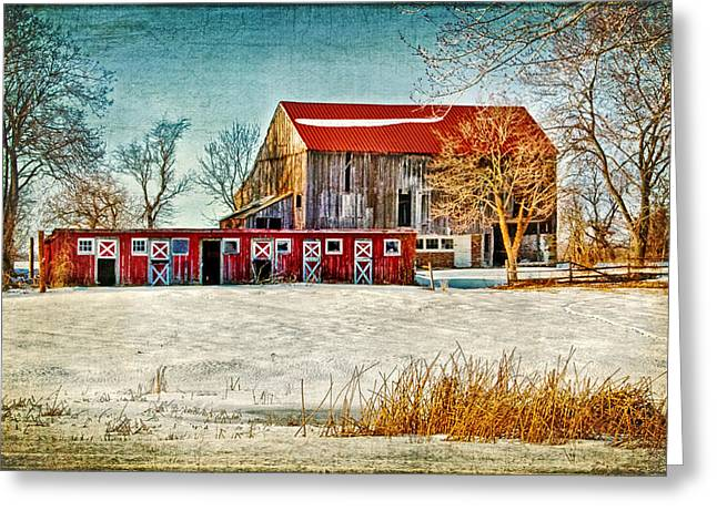 Dismantled Greeting Cards - Old Barn on Forrest Road Greeting Card by Carolyn Derstine