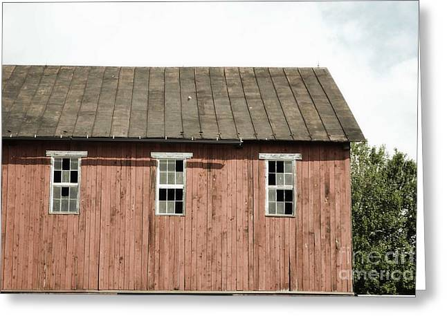 Red Barn Prints Greeting Cards - Old Barn Windows Greeting Card by Andrea Hazel Ihlefeld