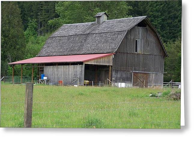 Collection Pyrography Greeting Cards - Old Barn With Red Leanto  Washington State Greeting Card by Laurie Kidd