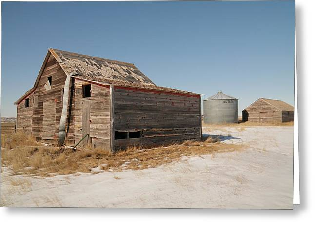 Grain Bin Greeting Cards - Old barns and a grain bin Greeting Card by Jeff  Swan