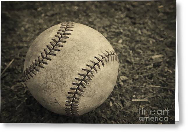 Plaything Greeting Cards - Old Baseball Greeting Card by Edward Fielding