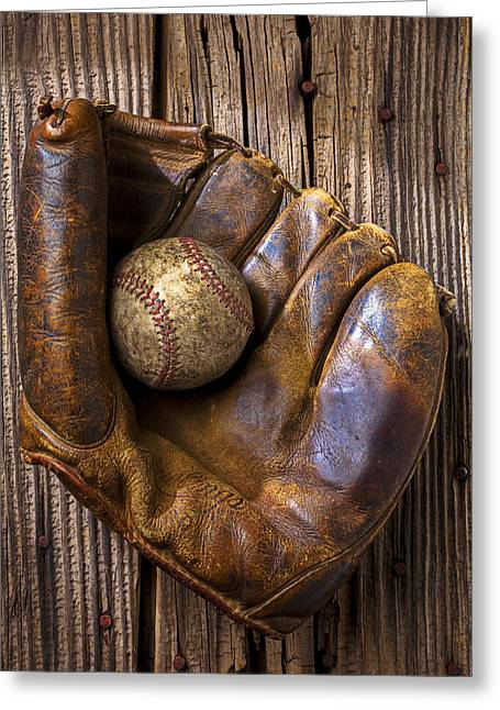 Plaything Greeting Cards - Old baseball mitt and ball Greeting Card by Garry Gay